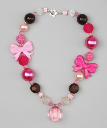 Pink & Brown Bow Bead Necklace