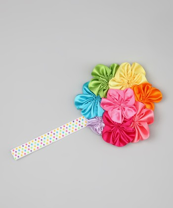 Lime & Pink Yoyo Flower Headband