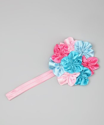 Pink & Blue Yoyo Flower Headband