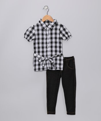 Gray Plaid Top & Jeggings - Toddler