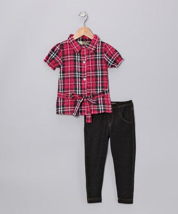 Red Plaid Top & Jeggings - Toddler