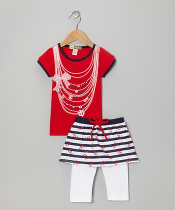 Red & White Nautical Tee & Skirted Leggings - Toddler