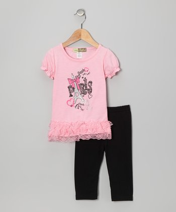 Pink 'Paris' Tunic & Leggings - Toddler