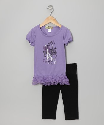 Purple 'Paris' Tunic & Leggings - Toddler
