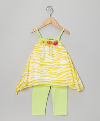 Yellow Zebra Tunic & Lime Leggings - Toddler