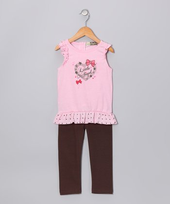 Pink & Brown 'Little Angel' Tunic & Leggings - Infant