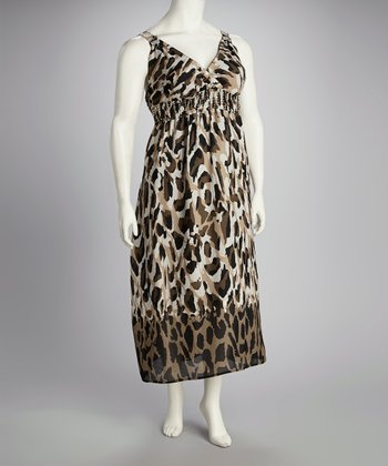 Tan & Black Leopard Bead Waist Surplice Maxi Dress - Plus