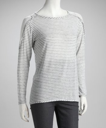 Gray Stripe Top