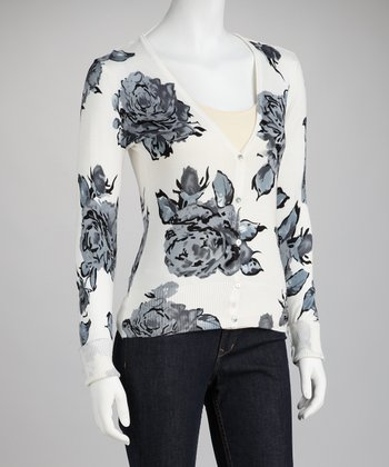 Mystree Cream Floral Cardigan