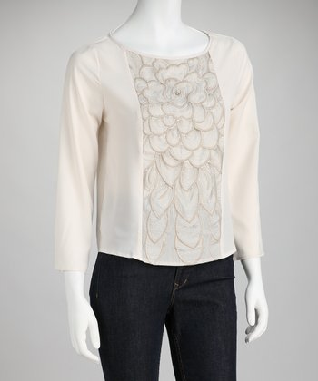 Mystree Cream Blossom Top