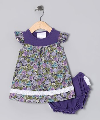 Purple Floral Dress & Diaper Cover - Infant