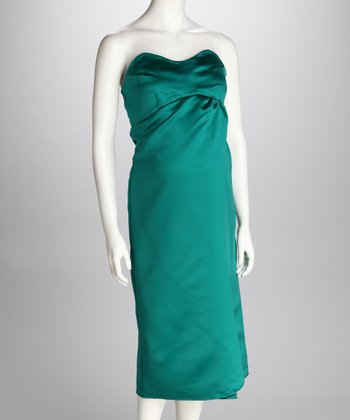 Emerald Silk Maternity Strapless Dress