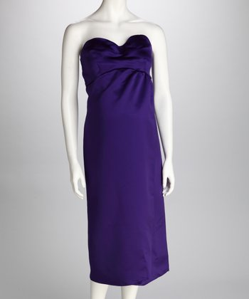 Purple Silk Maternity Strapless Dress
