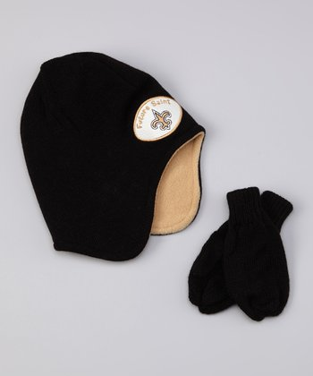 Black New Orleans Saints Earflap Beanie & Mittens