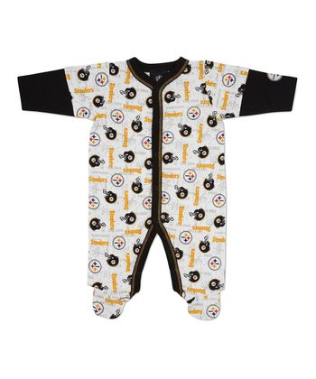 Black & White Pittsburgh Steelers Footie - Infant