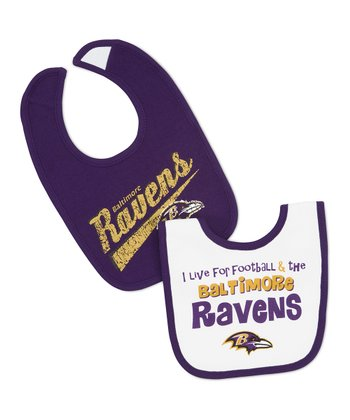Purple & White Baltimore Ravens Bib Set