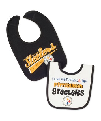 Black & White Pittsburgh Steelers Bib Set
