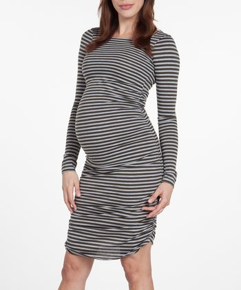 NOM Olive Stripe Raleigh Maternity Dress