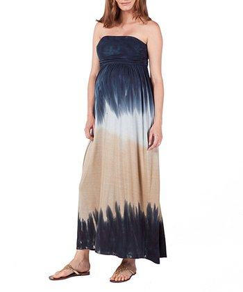 NOM Black & Khaki Tie-Dye Aurora Maternity Maxi Dress