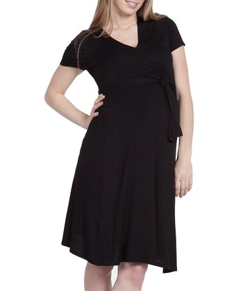 Black Estelle Maternity Wrap Dress