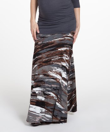 NOM Brown Rachael Abstract Under-Belly Maternity Maxi Skirt
