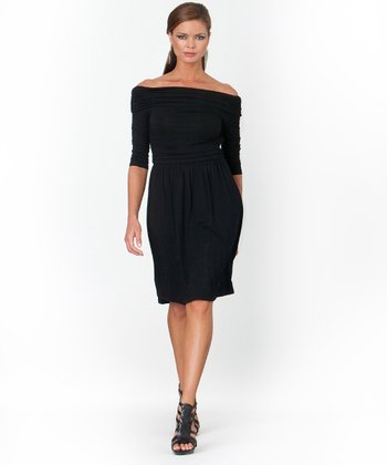 Black Ruched Off-Shoulder Shaper Dress