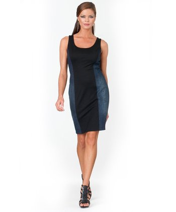 Black & Denim Color Block Shaper Dress