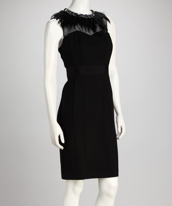 Black Feather Shaper Dress
