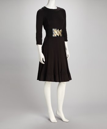 Black & Gold Belted Shaper Dress