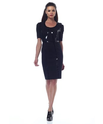 Black Faux Leather-Trim Ponte Shaper Dress