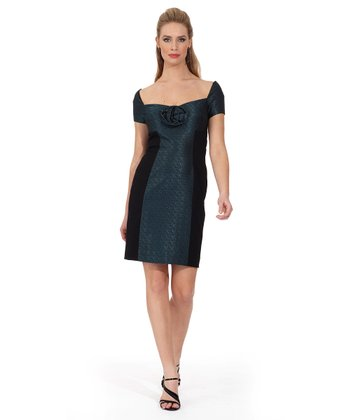 Teal Rose Jacquard Shaper Dress