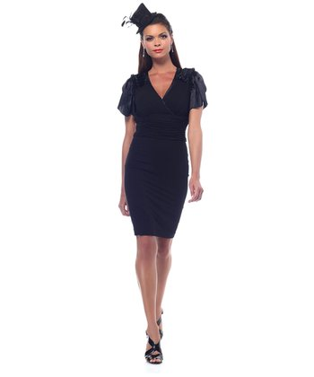 Black Ruched Angel-Sleeve Shaper Dress