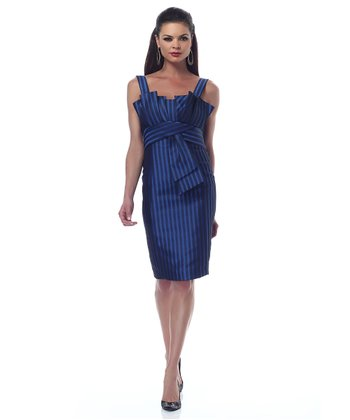 Blue Jacquard Shaper Dress