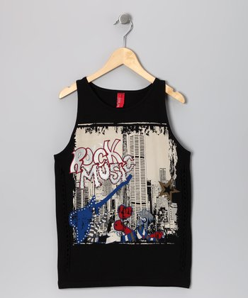 Black 'Rock Music' Tank - Boys