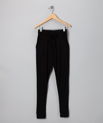 Black Drawstring Pants - Girls