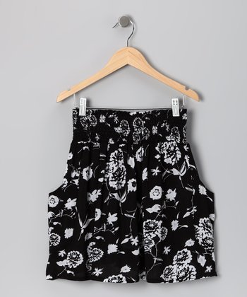 Black Floral Skirt - Girls