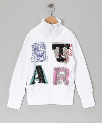 White 'Star' Zip-Up Jacket - Girls