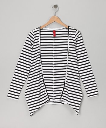 Black Stripe Delica Cardigan - Girls
