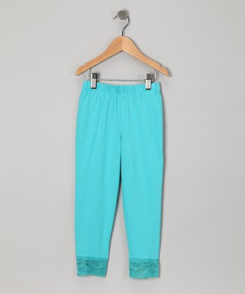 Aqua Lace Leggings - Girls