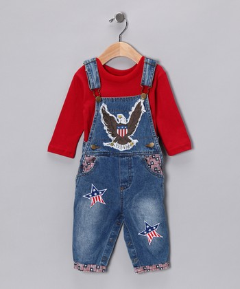 Blue & Red USA Tee & Overalls - Infant, Toddler & Boys