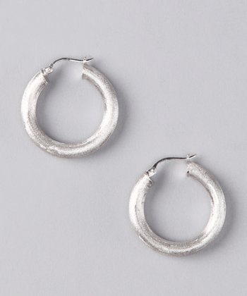 NYLA STAR Sterling Silver Brushed Hoop Earrings
