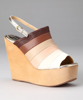 Tan Stripe Abbey Wedge