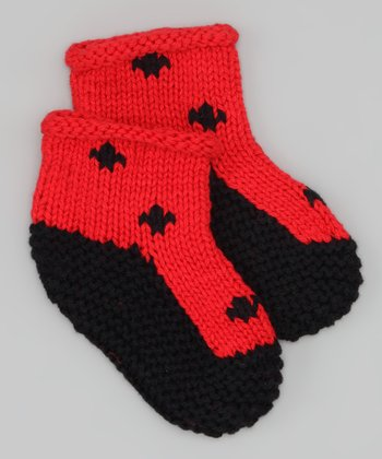 Black & Red Polka Dot Knit Booties