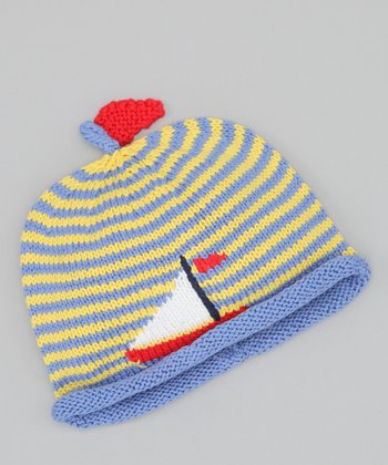 Yellow & Blue Sailboat Beanie