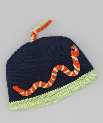 Blue & Orange Snake Beanie