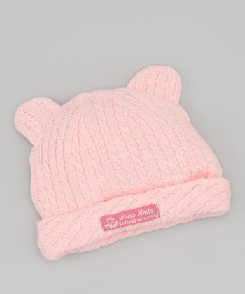 Pink Animal Cable Knit Beanie