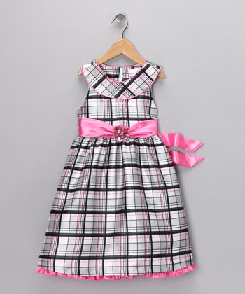 Black & Pink Plaid Dress - Infant & Toddler