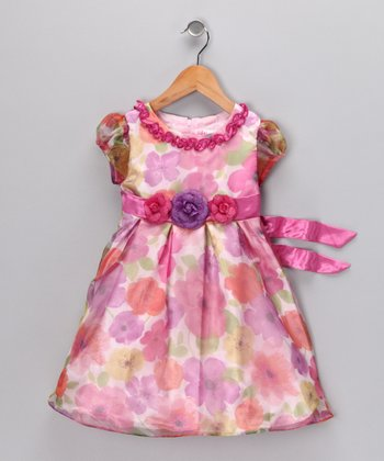 Purple & Pink Floral Dress - Infant