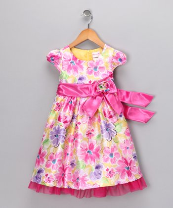 Pink Floral Bow Dress - Infant