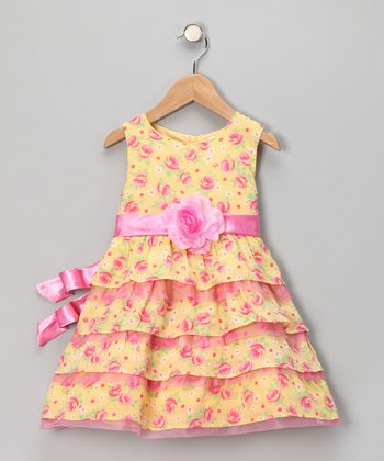 Yellow & Pink Floral Tiered Dress - Infant